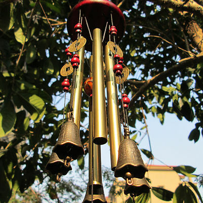 Antique Amazing 4 Tubes Windchime Church Melody Bells Wind Chimes Home Decor