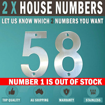 NEW 2 X 100 MM 304 Stainless Steel House Number Letter Box