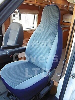To Fit A Peugeot Boxer Motorhome, 2004, Seat Covers,chevron Blue Mh-022,2 Fronts