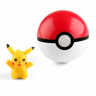 Pokemon Pokeball Pop-up 7cm Plastic BALL Toy Action Figure+ Free Pikachu