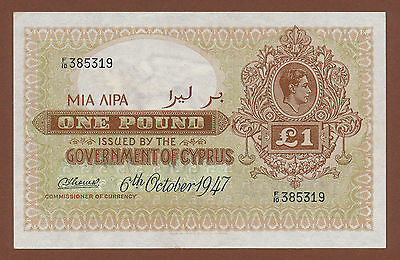 """Cyprus, 1 Pound 1947 (F/10 385319) P-24  XF """"not washed or pressed"""""""