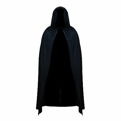 Black Polyester Hooded Halloween Fancy Dress Full Length Cape Cloak