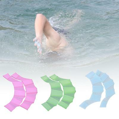 Swimming Finger Webbed Gloves Frog Hand Silicone Flippers Palm Swim Train L CB