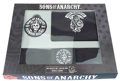 Sons Of Anarchy Gift Set - Wallet - Belt - Keyring - One Size