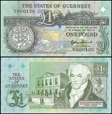 Guernsey 1 Pound Banknote, 1991, P-52d, UNC, Bethan Haines