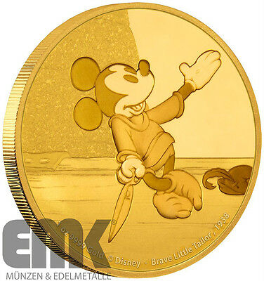 Niue - 250 Dollar 2016 - Disney Mickey - Brave Little Tailor - 1 Oz Gold in PP