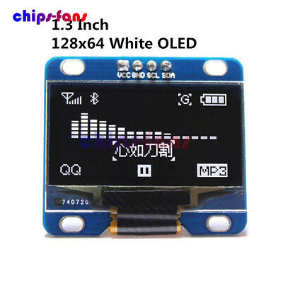 """3-5V 1.3"""" White SPI Serial 128X64 OLED LCD LED Display Module for Arduino UNO R3"""