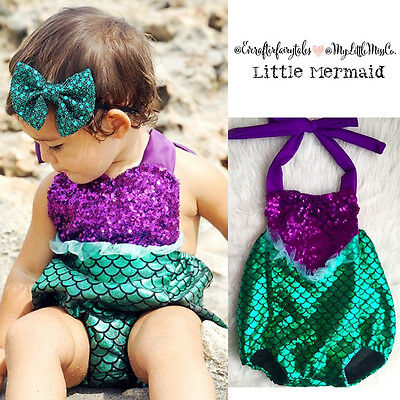 Sequins Newborn Baby Girls Rompers Lace Jumpsuit Little Mermaid Outfits Costume