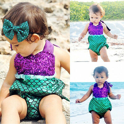 Baby Girl Romper Jumpsuit Lace Mermaid Outfits Backless Sunsuit Costume 0-24M AU