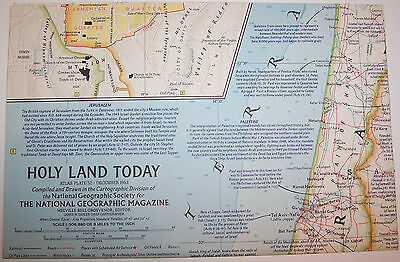"""Vintage 1963 National Geographic Map HOLY LAND TODAY--19"""" w x 25"""" t-GREAT Cond"""