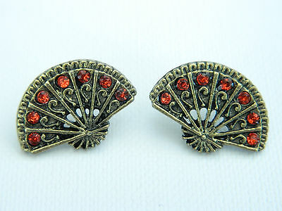 Vintage Antique Bronze Fan with Red Diamond Crystals Studs Earrings E254