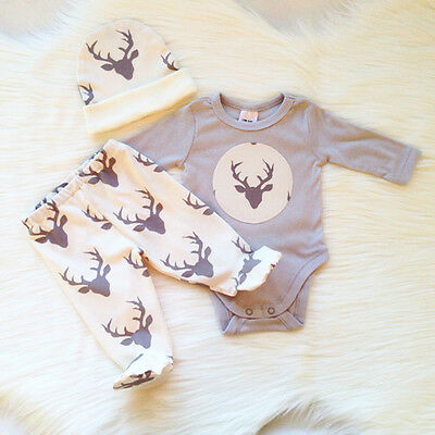 Newborn Baby Boys Girls Deer Romper Tops+Trousers Hat Outfits Sets 3pcs Clothes
