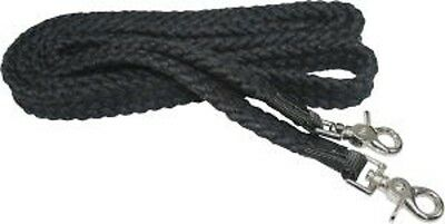 """Flat Braided 100% Cotton Reins with Scissor Snaps 7' long 1"""" wide BLACK NEW"""