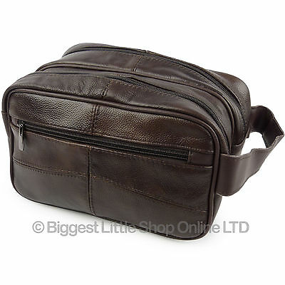 NEW Mens Brown Cowhide Leather Wash Bag by Oakridge Travel Toiletries 2 Sections