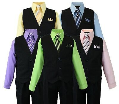 Formal Boys Pinstripe Vest Suit Set with Dress Shirt, Tie, Vest and Pants 2T-14
