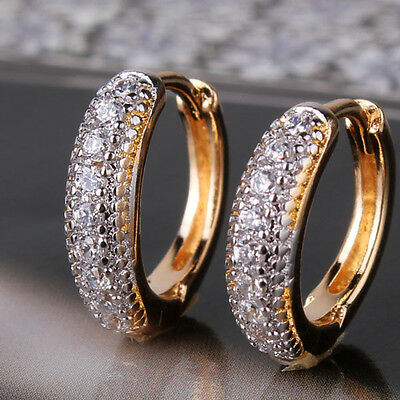 Silver & Gold Filled Hoop Ring Pave Diamond Sapphire Women Lady Party Earrings