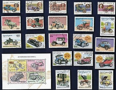 25 VINTAGE AUTOMOBILES on Stamps