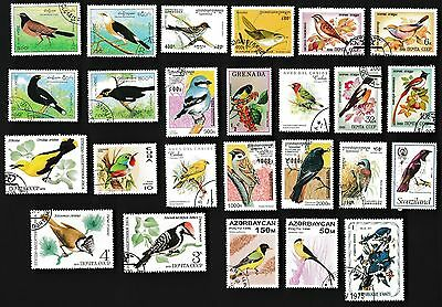 25 SONG BIRDS on Stamps