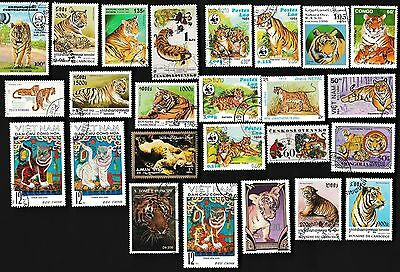 25 TIGERS on Stamps