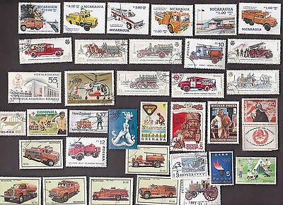 35 All Different FIRES, FIREFIGHTING & FLAMES on Stamps