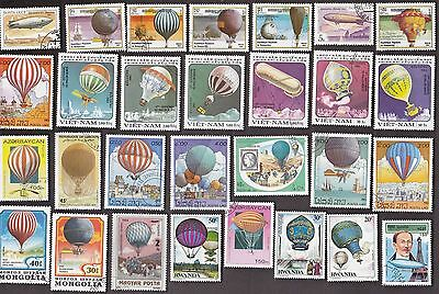 50 All Different BALLOONS on Stamps