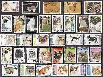 50 All Different CATS on Stamps