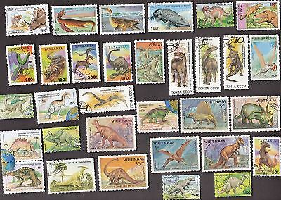 50 All Different DINOSAURS on Stamps