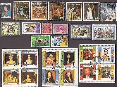 50 All Different ENGLISH KINGS, QUEENS, ROYALTY on Stamps