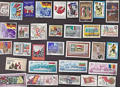 50 All Different FLAGS on Stamps