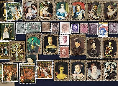 50 All Different KINGS & QUEENS on Stamps