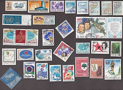50 All Different MAPS (SOME ARE GLOBES) on Stamps