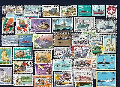 50 PLANES, TRAINS, AUTOS, ETC on Stamps