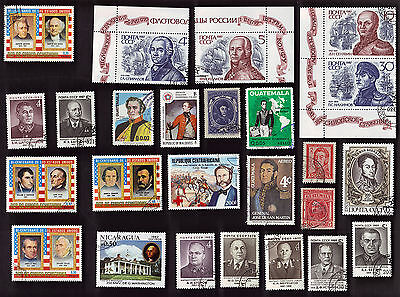 75 All Different Generals & Admirals On Stamps (J)