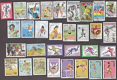 75 All Different TRACK & FIELD on Stamps