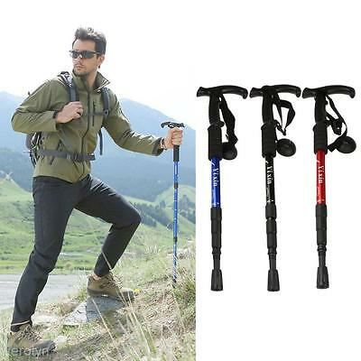 Useful Functional Aluminum Retractable Walking Stick Sport Travel Climbing Tool