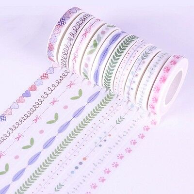 10 Roll 10M Hand Painted Washi Tape Scrapbooking DIY Paper Sticky Sticker