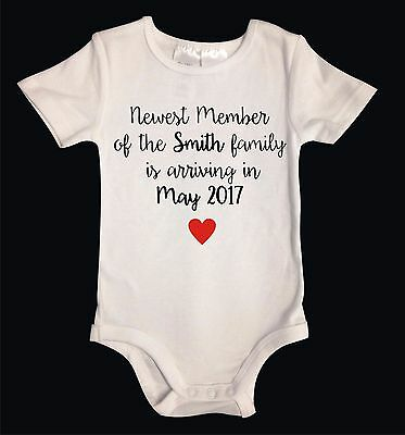 Personalised Custom Pregnancy reveal announcement Onesie One Piece Baby Suit