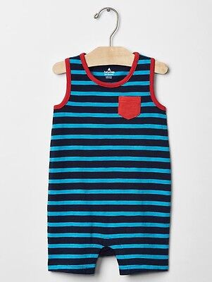 8b979bf9f03 GAP BABY BOY Size 0-3 Months Blue   Red Striped Tank One-Piece ...