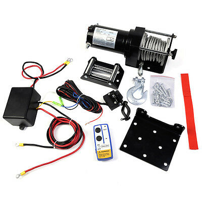 Electric Recovery Winch Rope Hoist Remote Control 4WD ATV Truck Boat 12V 3000LB