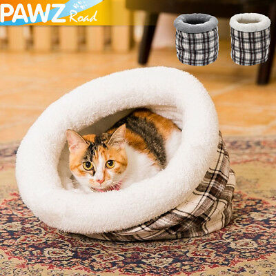 Pet Cat Bed Tunnel Cushion Cozy Soft Warm Kitten Squeaking Sleeping Bag Play Toy