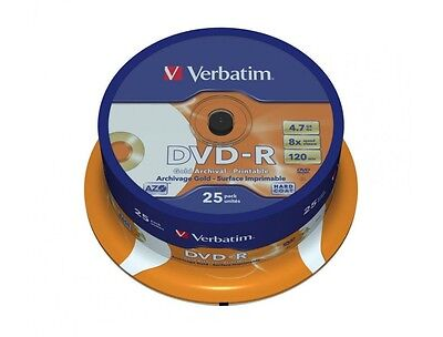 25 x Verbatim Blank DVD-R Gold Archival Printable Spindle - BRAND NEW