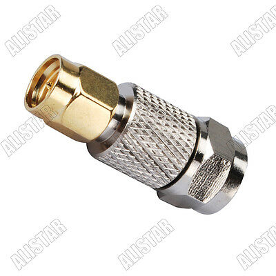 F male plug to SMA male plug Straight Adapter coaxial RF Connector Converter