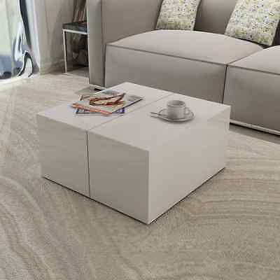 Coffee Side Table Wooden High Gloss White Square Practical Hidden Storage