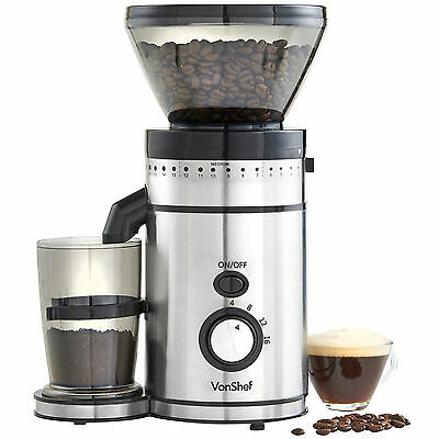 VonShef Premium Electric Burr Coffee Grinder Whole Bean Blender Mill 150W