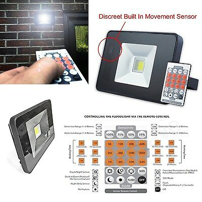 20w=200w Remote Control LED Home House Security Garden Outdoor Light PIR Sensor