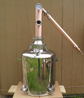 "26 Gallon Moonshine Still with 4"" Diameter Copper Whiskey Column,  1 Sight Glass"