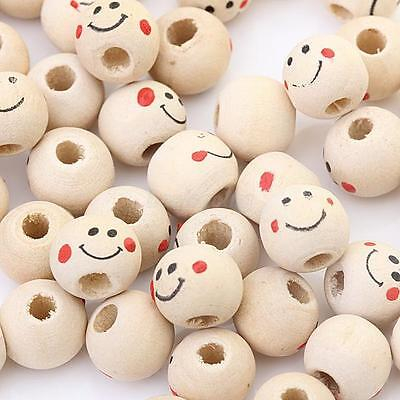 40pcs Wooden Round Smile Face Loose Beads CRAFT BEADS Beaded  Handmade 12mm