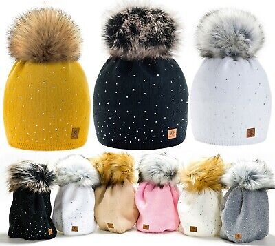 Women Ladies Winter Beanie Hat Warm Knitted with Small Crystals Large Pom Pom LA