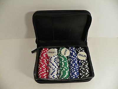 Set of 200+ Clay Casino Poker Chips in Cloth Zip Close Bag 3 Dealer Chips