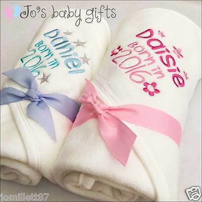 Personalised Baby Hooded Towel 'Born in 2017' Any name Embroidered -Perfect Gift